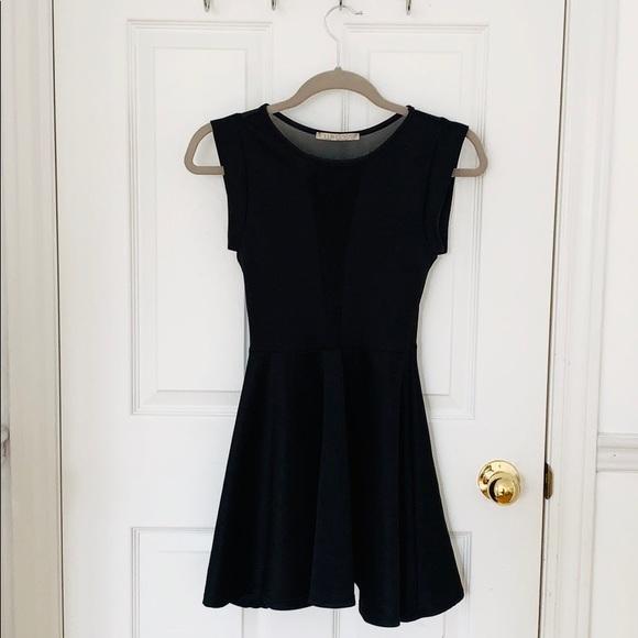 Black Skater Dress With Mesh